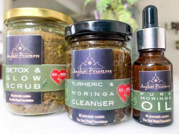3-Step Skincare Line: Moringa, 100% Pure Honey, Galangal & Turmeric